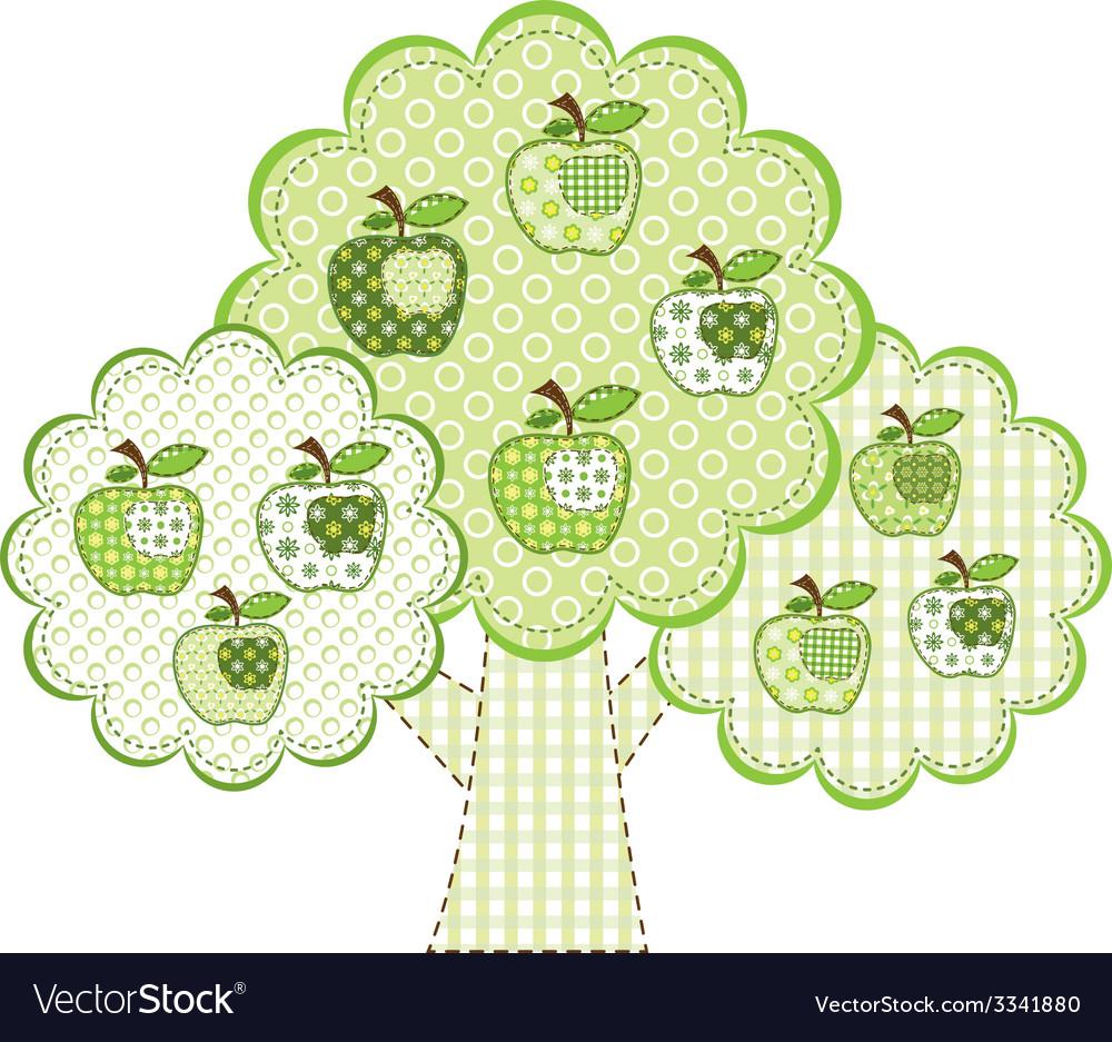 Patchwork green apple tree vector | Price: 1 Credit (USD $1)
