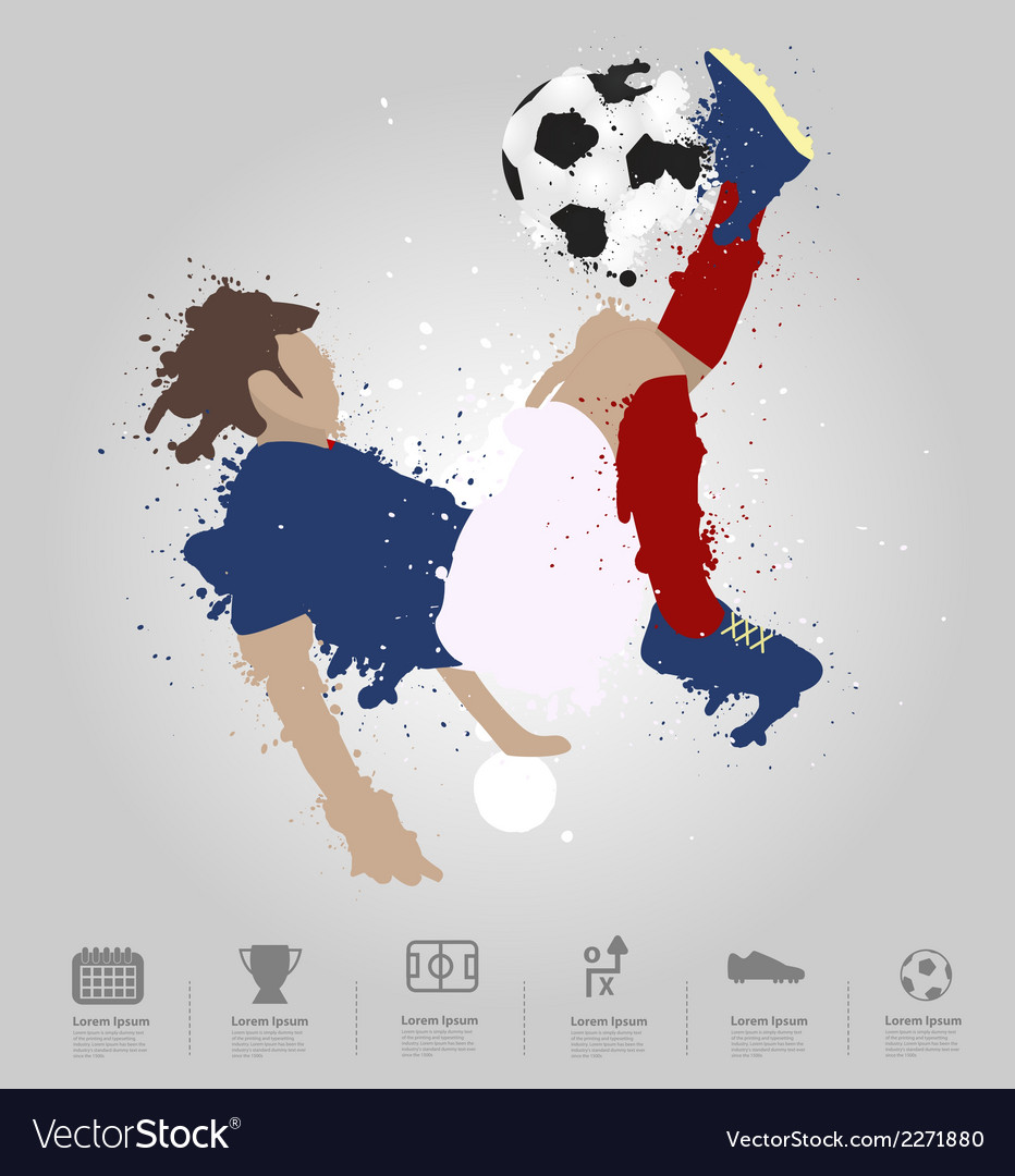 Soccer player kicks the ball vector | Price: 1 Credit (USD $1)