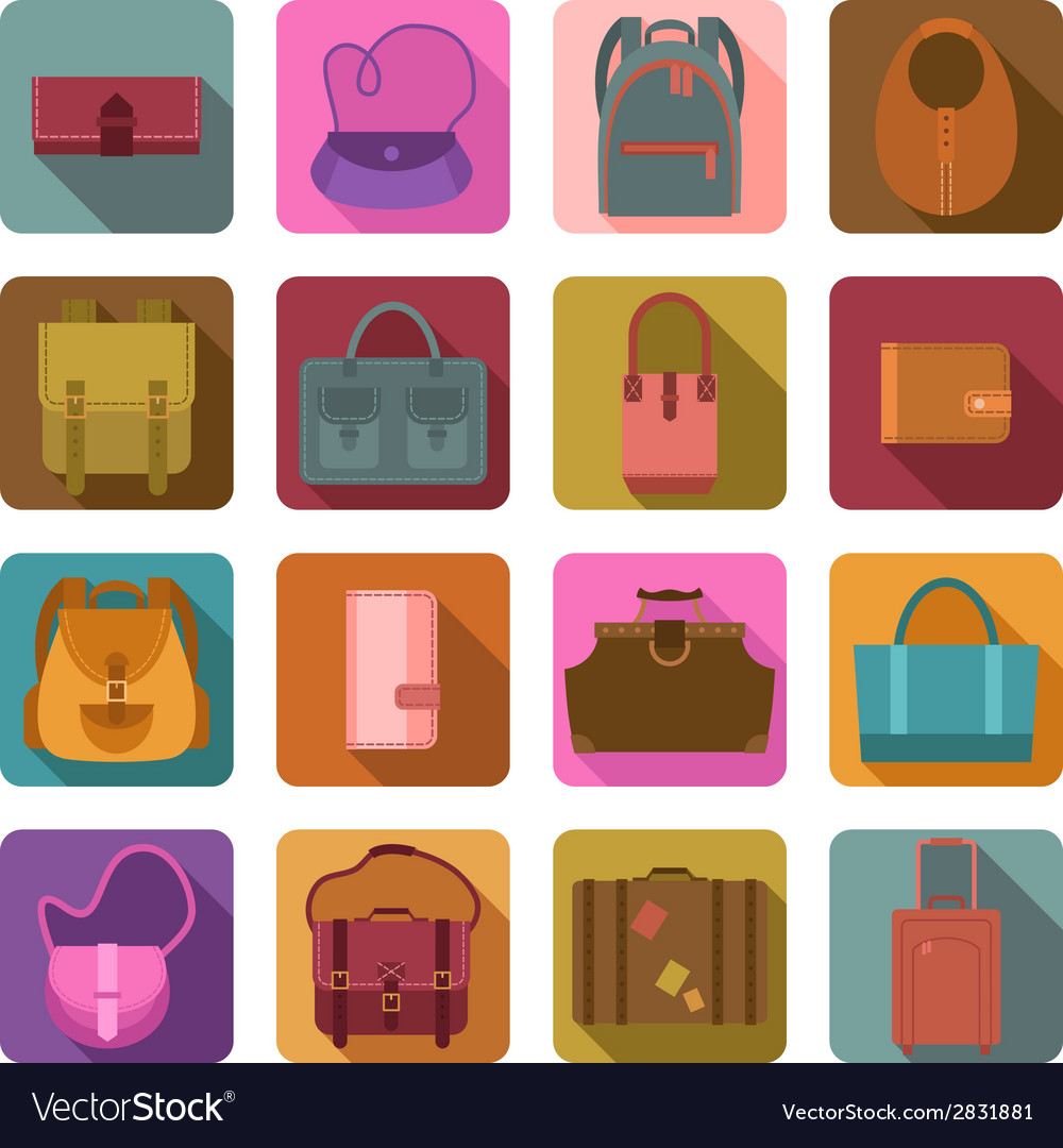 Bags colored flat icons set vector | Price: 1 Credit (USD $1)