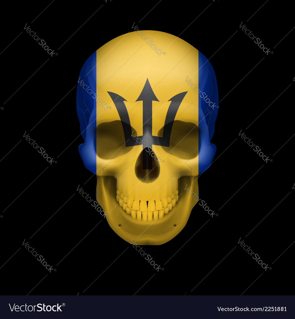 Barbadian flag skull vector | Price: 1 Credit (USD $1)
