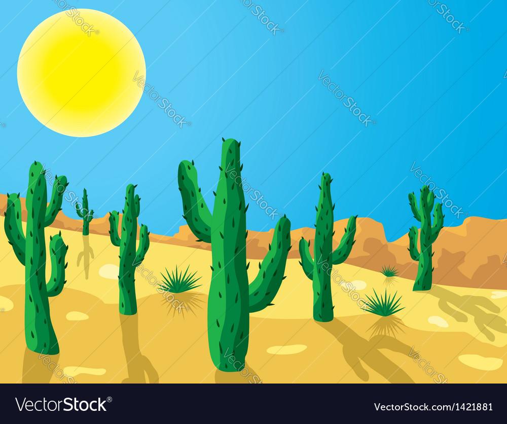 Cactus in desert vector | Price: 1 Credit (USD $1)