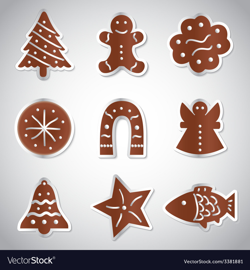 Christmas various gingerbread symbols set eps10 vector | Price: 1 Credit (USD $1)