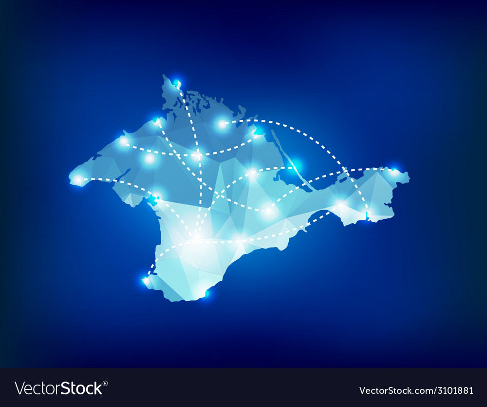 Crimea country map polygonal with spot lights plac vector | Price: 1 Credit (USD $1)