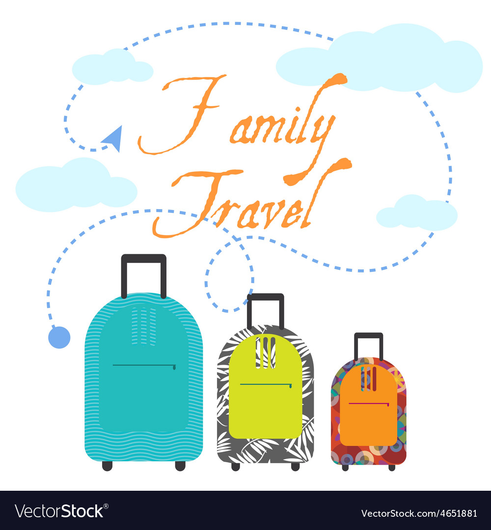 Family travel three suitcases vector | Price: 1 Credit (USD $1)