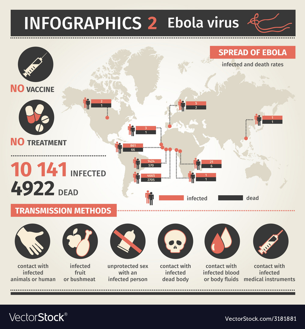 Infographics ebola virus distribution map ways of vector | Price: 1 Credit (USD $1)