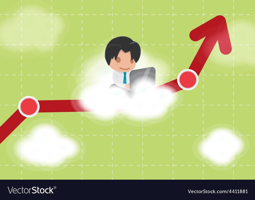 Man work cloud stock market vector | Price: 1 Credit (USD $1)