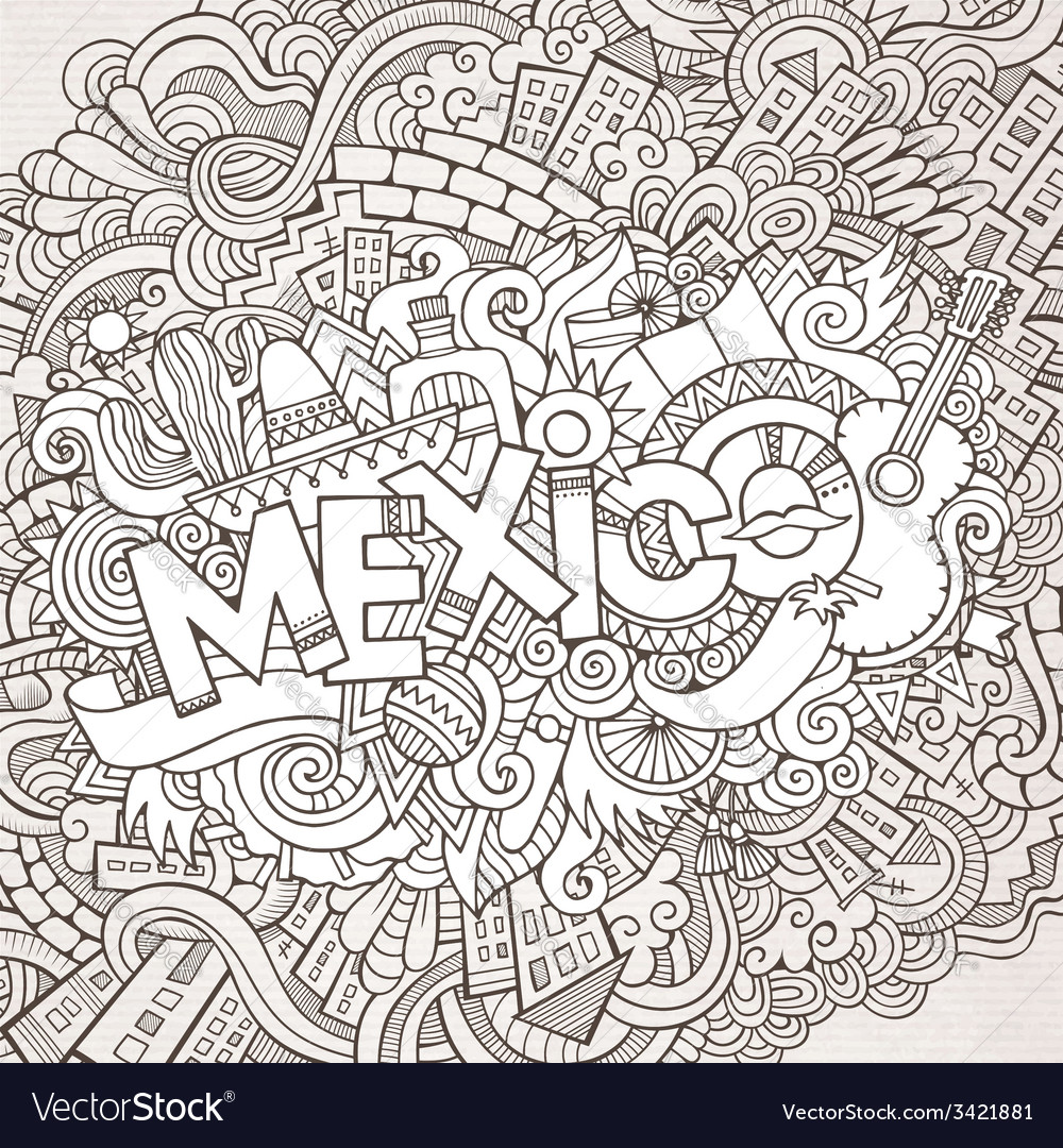 Mexico hand lettering and doodles elements vector | Price: 1 Credit (USD $1)