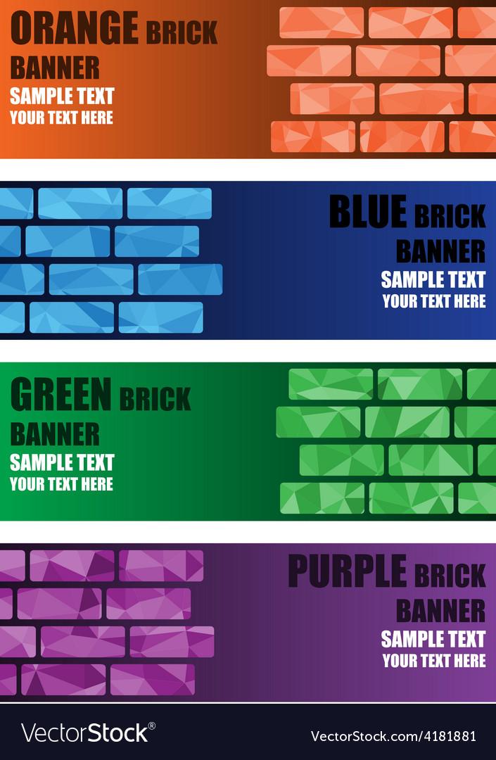 Polygon brick banner vector | Price: 1 Credit (USD $1)