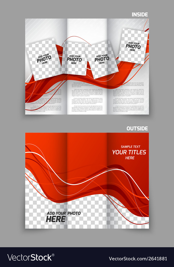 Red wavy tri fold brochure vector | Price: 1 Credit (USD $1)