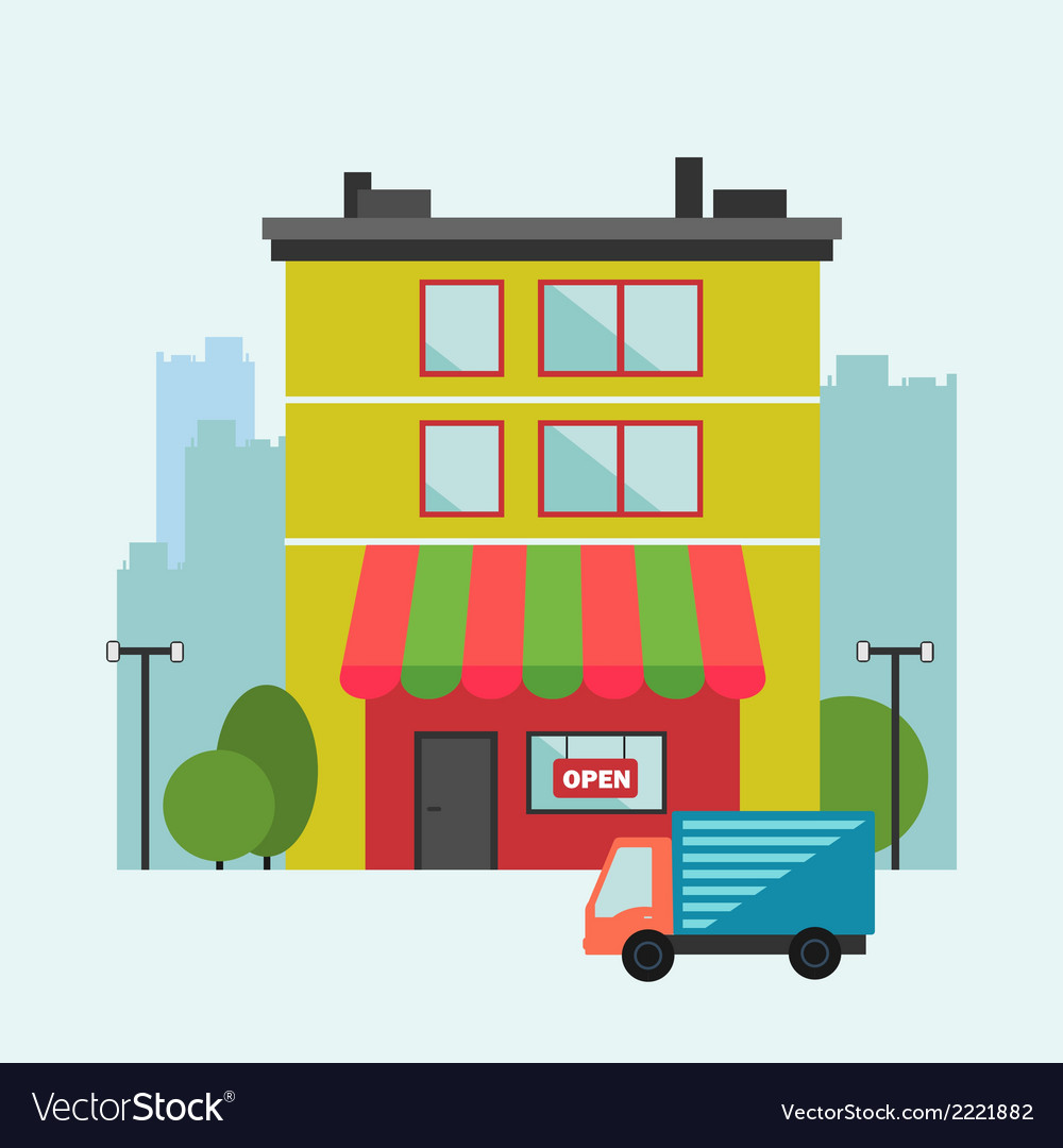 Building retail store front with delivery van vector | Price: 1 Credit (USD $1)
