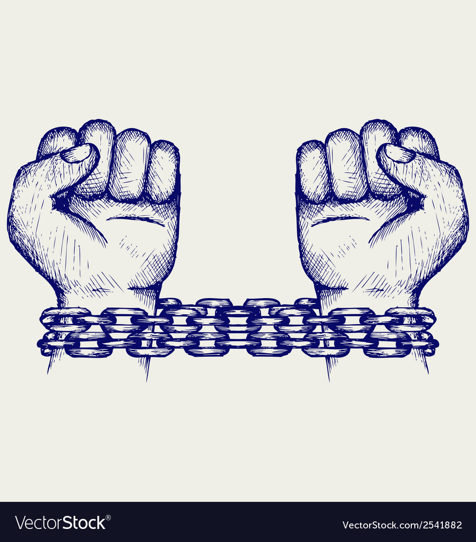 Hands chained in a chain vector | Price: 1 Credit (USD $1)