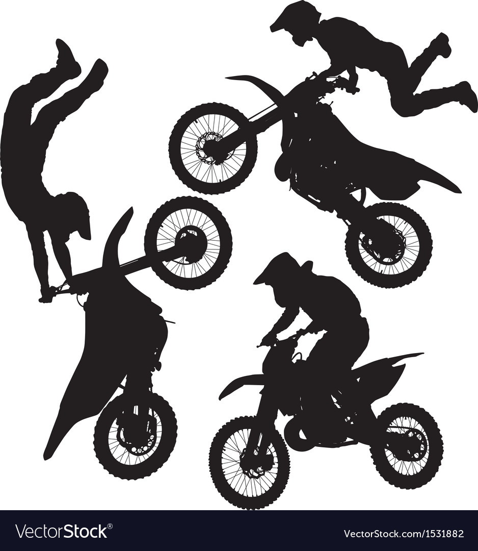 Motocross jump silhouette vector | Price: 1 Credit (USD $1)
