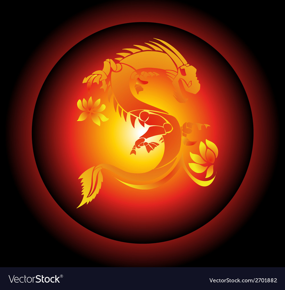 Red and yellow chinese dragon on black background vector | Price: 1 Credit (USD $1)