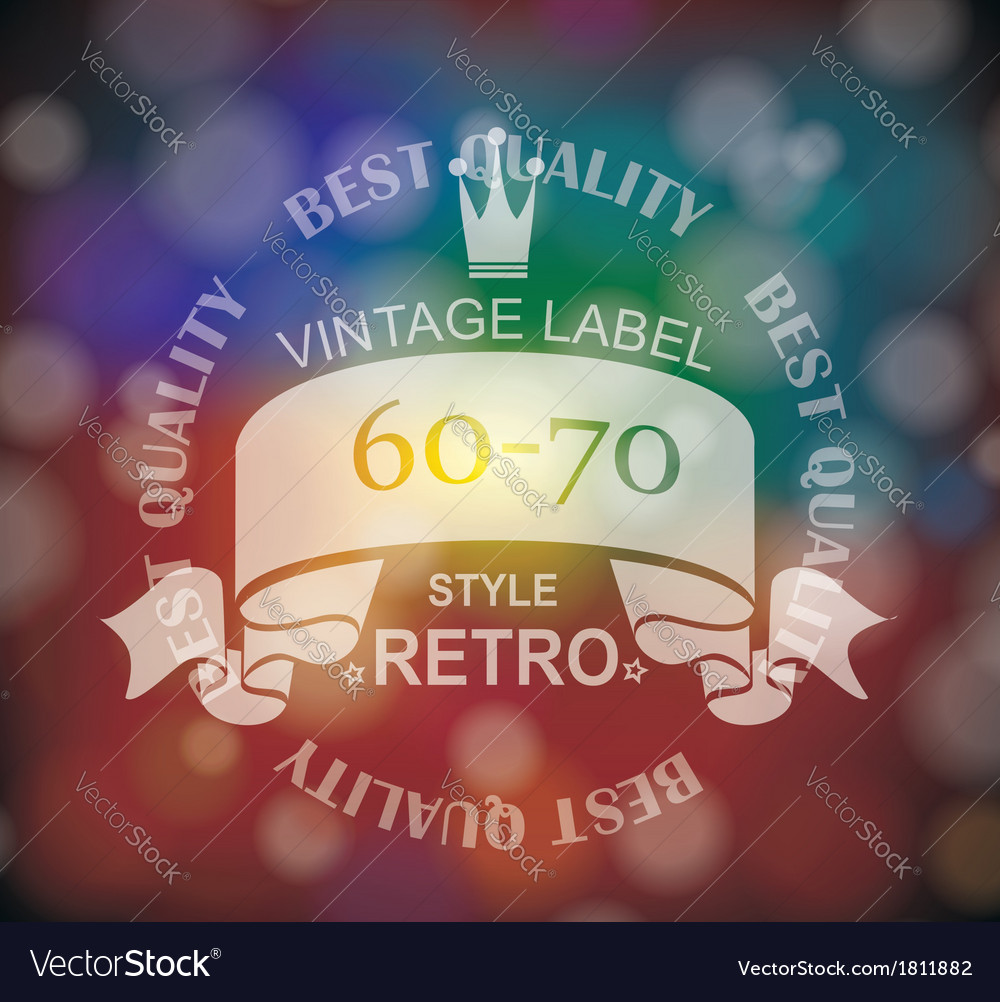 Retro label with ribbon and crown vector | Price: 1 Credit (USD $1)