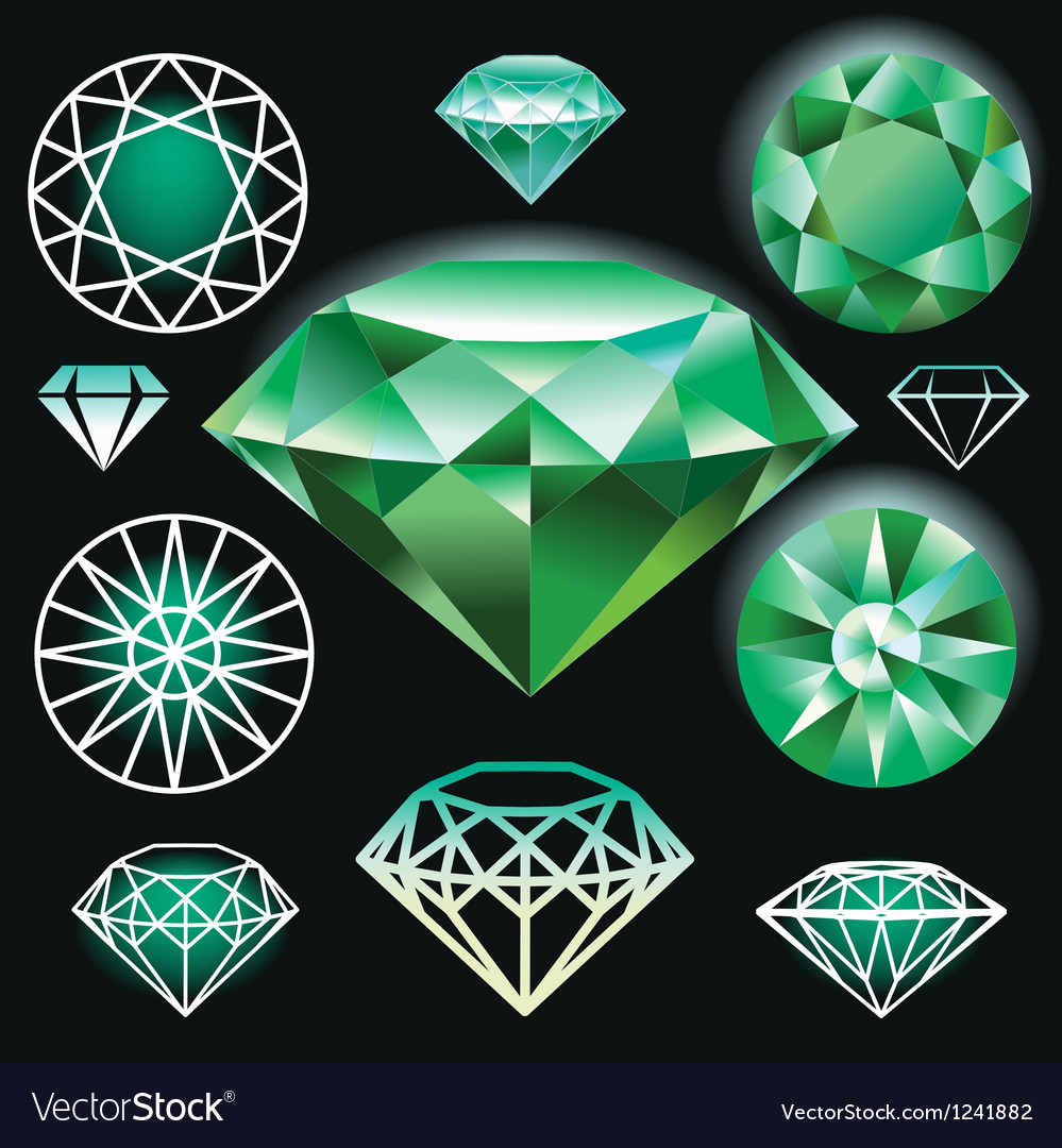 Set of green diamond vector | Price: 1 Credit (USD $1)