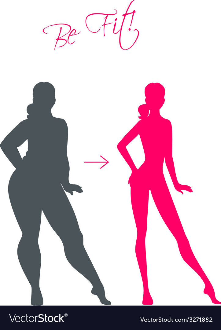 Slim and fat girls vector | Price: 1 Credit (USD $1)