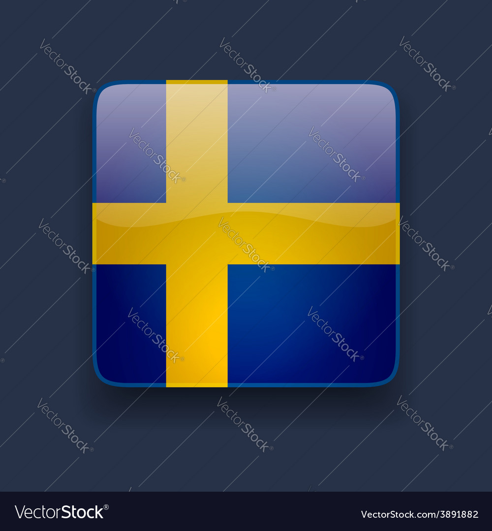 Square icon with flag of sweden vector | Price: 1 Credit (USD $1)