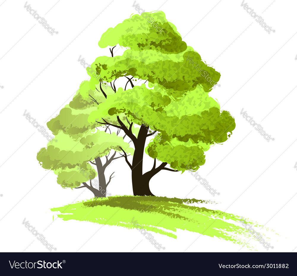 Two trees drawing isolated vector | Price: 1 Credit (USD $1)