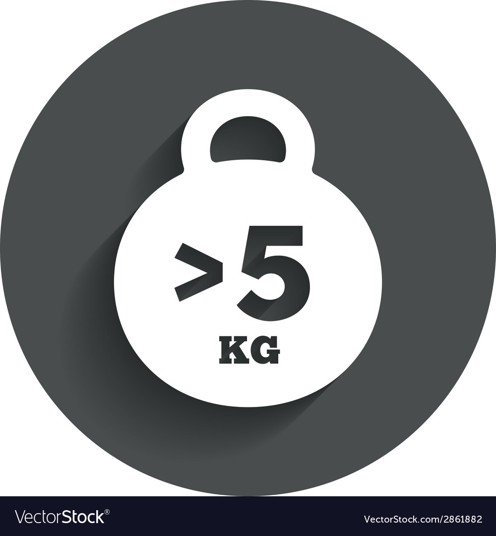 Weight sign icon more than 5 kilogram kg vector | Price: 1 Credit (USD $1)