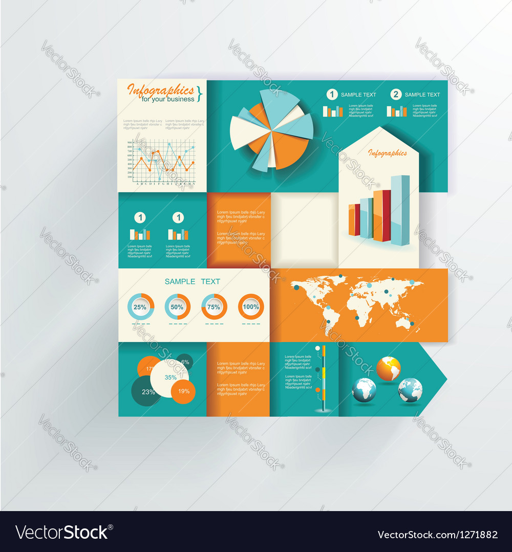 World map and information graphics vector | Price: 1 Credit (USD $1)