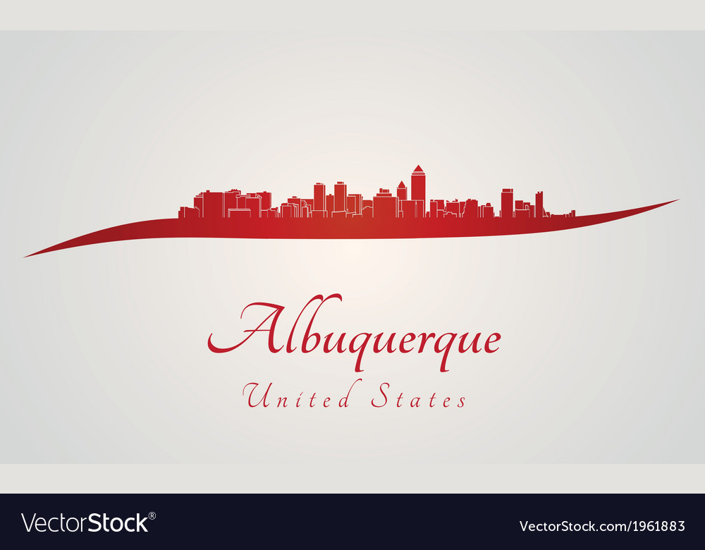 Albuquerque skyline in red vector | Price: 1 Credit (USD $1)