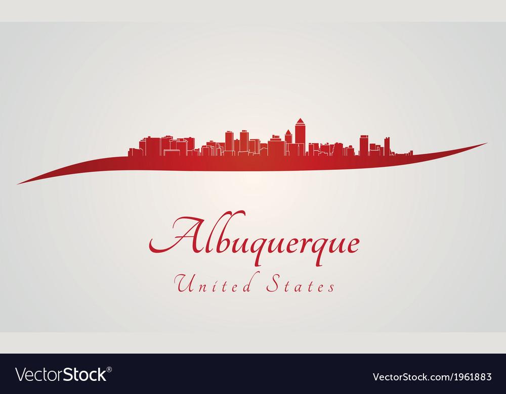 Albuquerque skyline in red vector | Price: 1 Credit (USD $1)