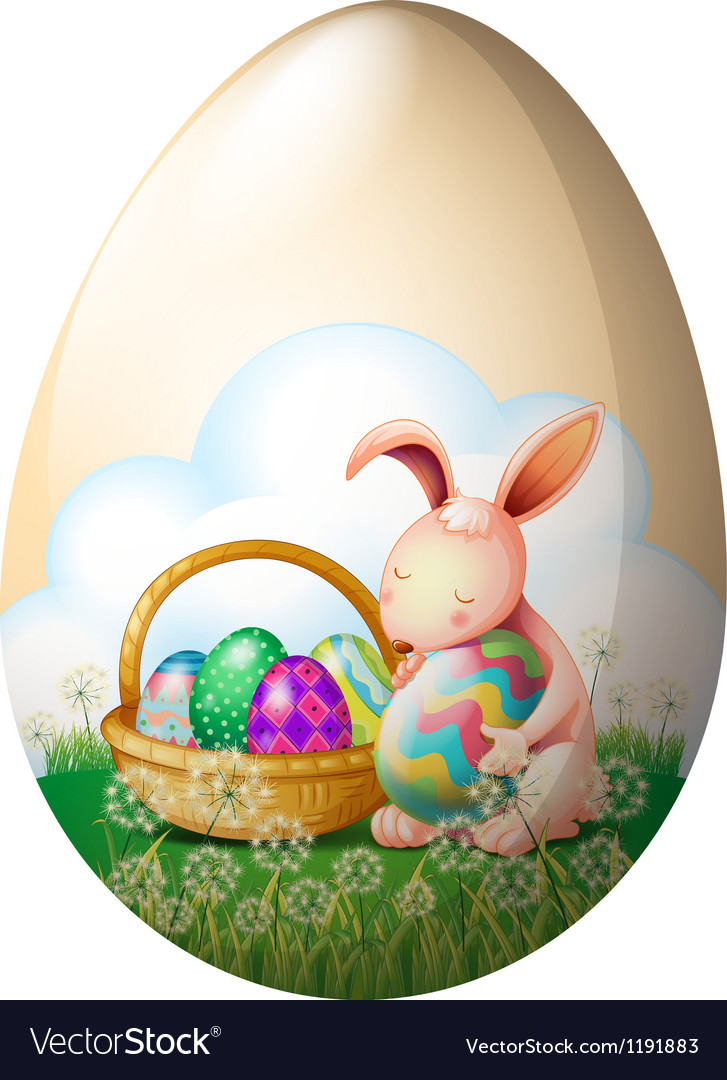 An easter bunny with easter eggs vector | Price: 1 Credit (USD $1)