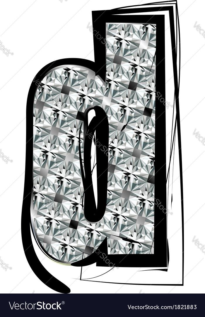 Diamond font letter d vector | Price: 1 Credit (USD $1)