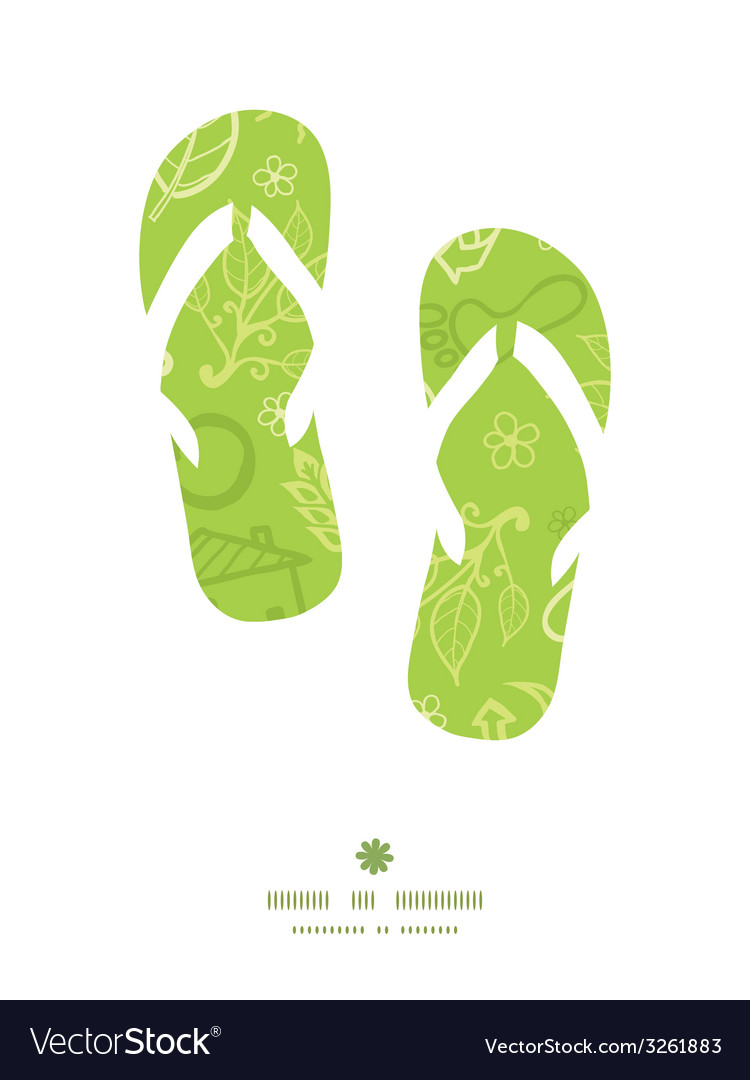 Environmental flip flops silhouettes pattern frame vector | Price: 1 Credit (USD $1)