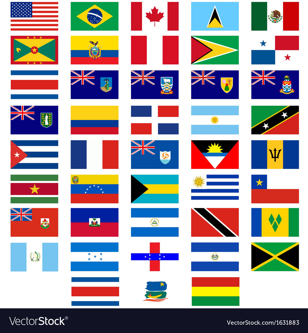 Flags of the countries of america vector | Price: 1 Credit (USD $1)