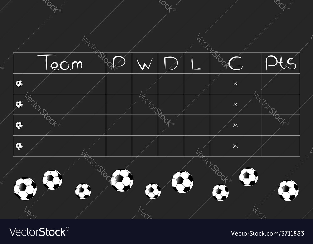Football tournament group stages and points table vector | Price: 1 Credit (USD $1)