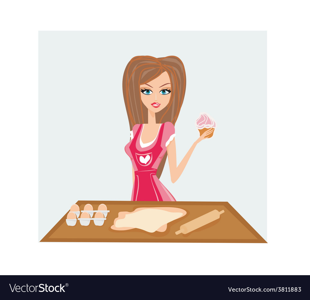 Housewife cooking cake in the kitchen vector   Price: 1 Credit (USD $1)