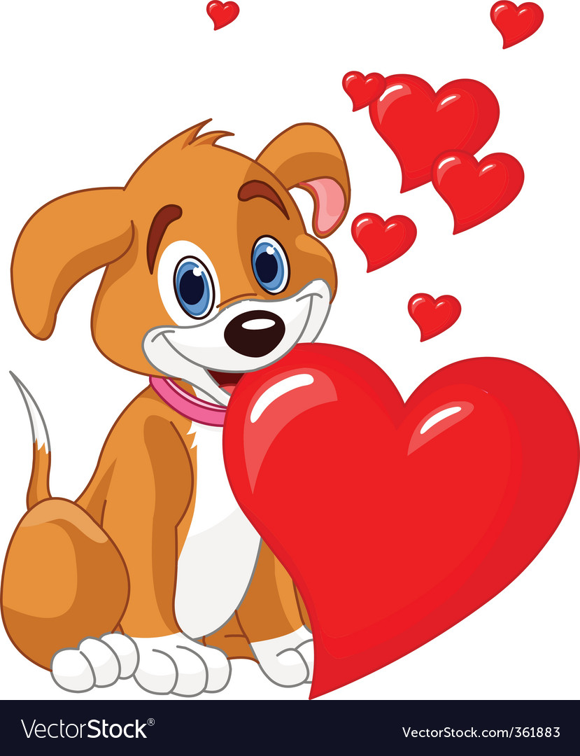 Puppy with red heart vector   Price: 3 Credit (USD $3)
