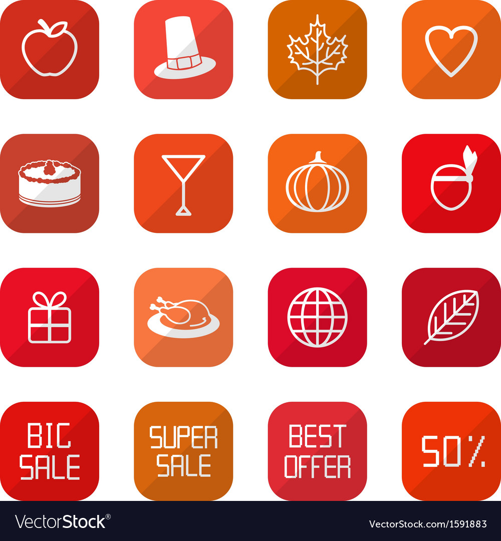 Sale thanksgiving icons vector | Price: 1 Credit (USD $1)