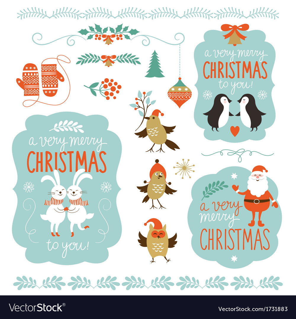 Set of christmas lettering and graphic elements vector | Price: 3 Credit (USD $3)
