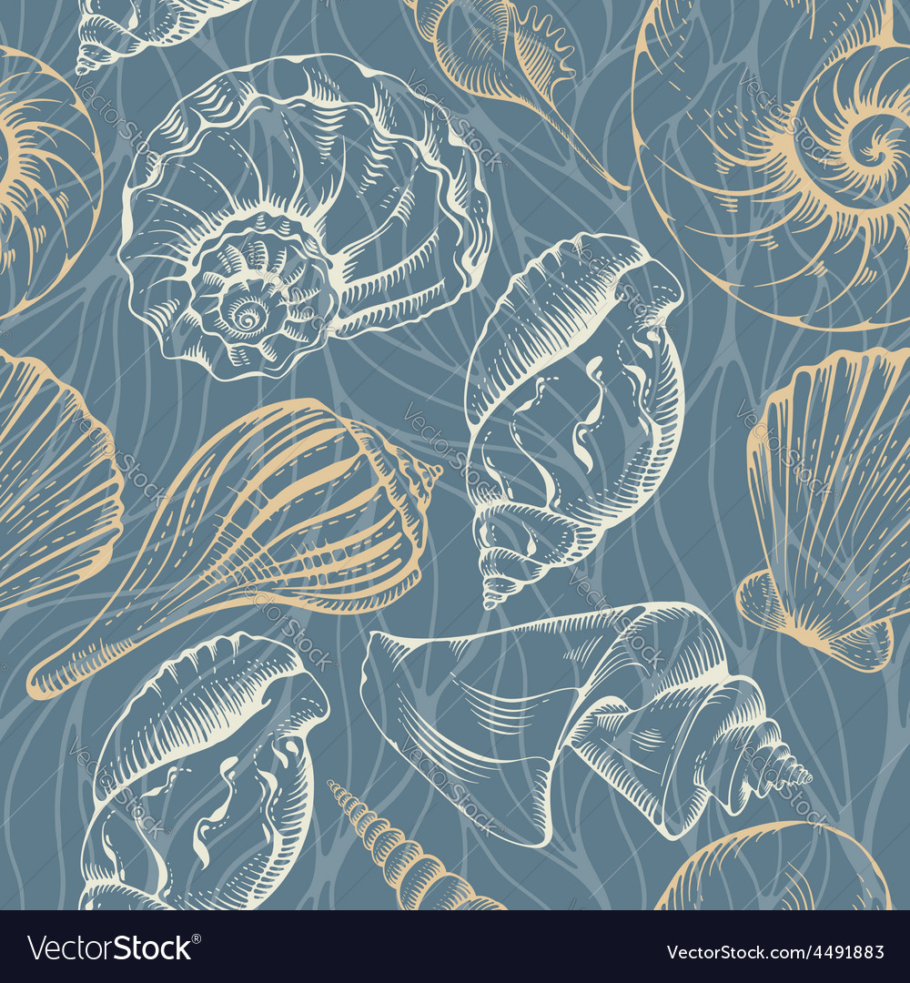 Shell seamless pattern vector