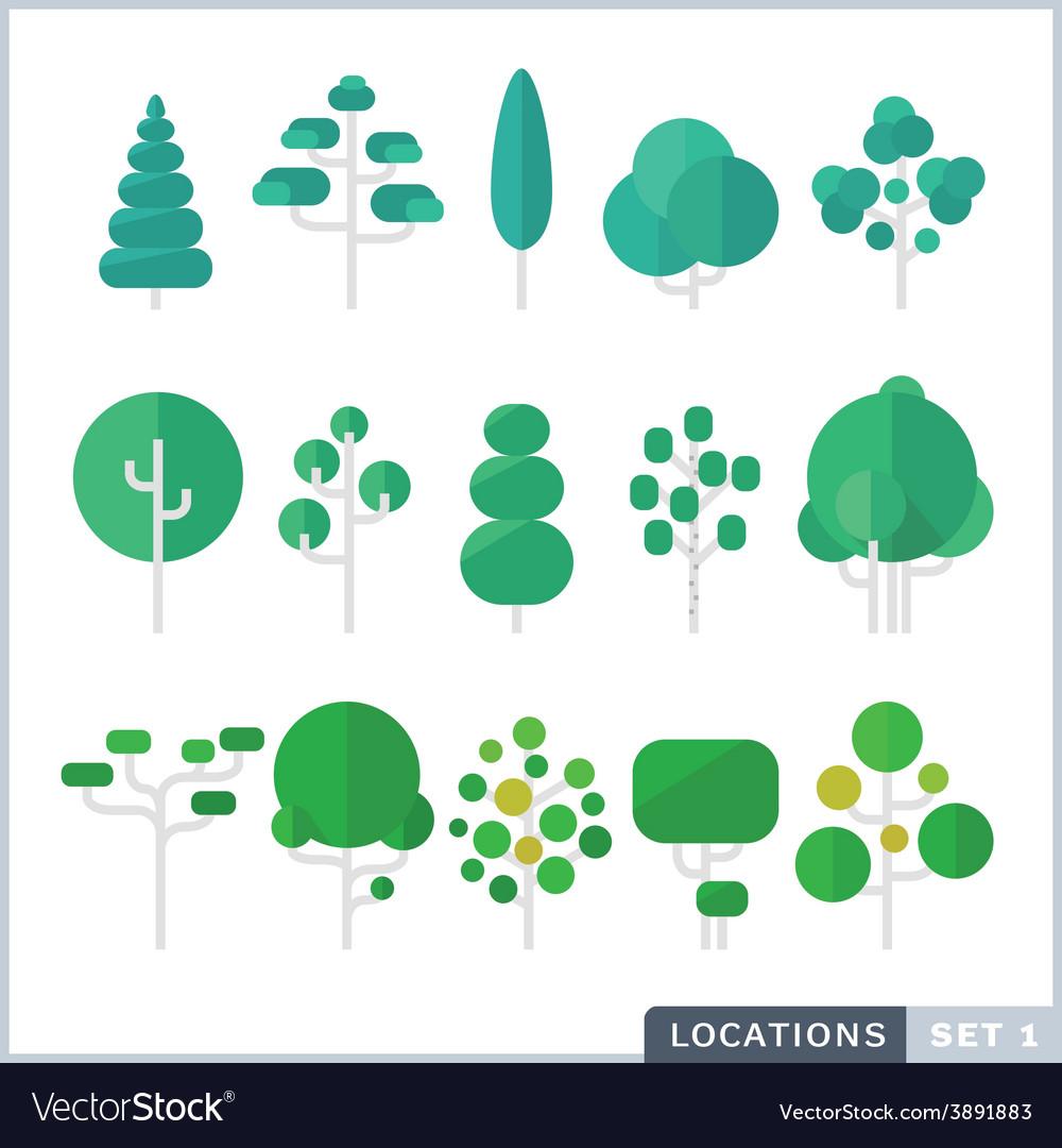 Tree flat icon set vector   Price: 1 Credit (USD $1)