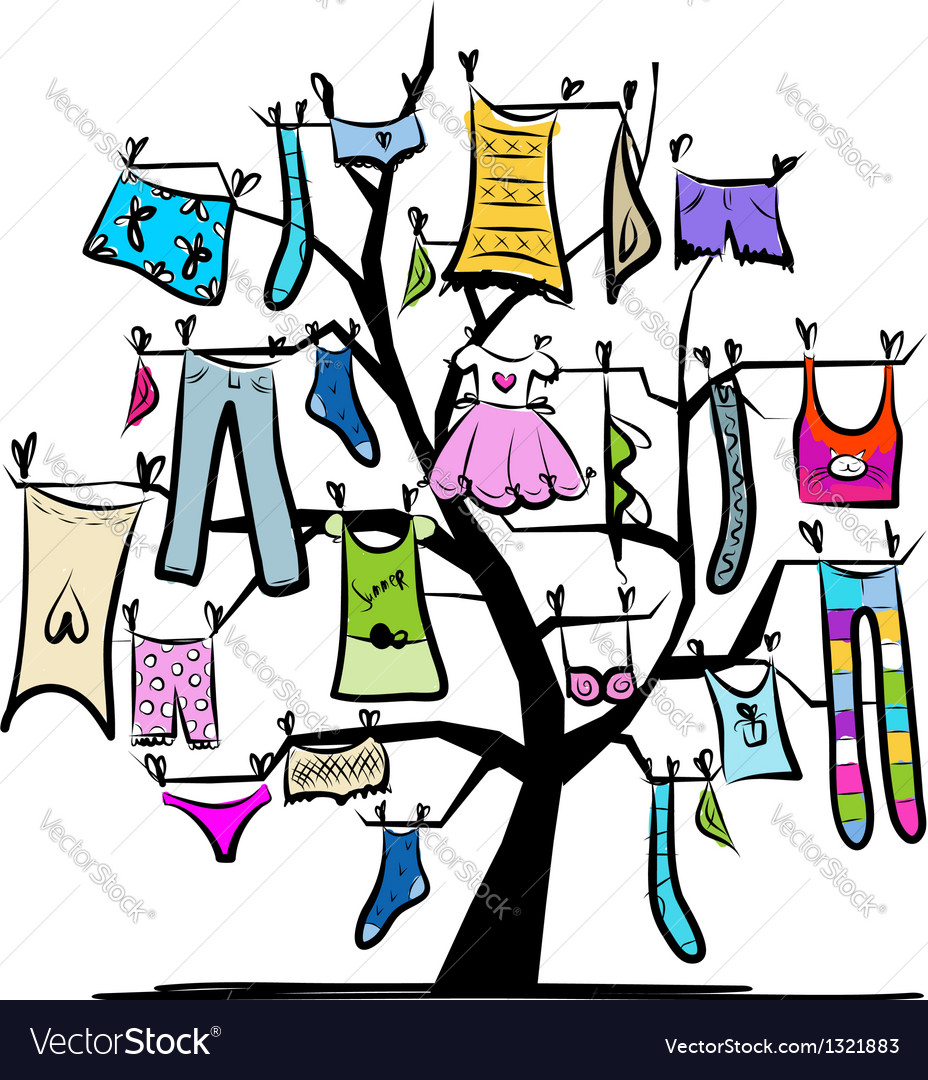 Wardrobe clothes on tree for your design vector | Price: 1 Credit (USD $1)