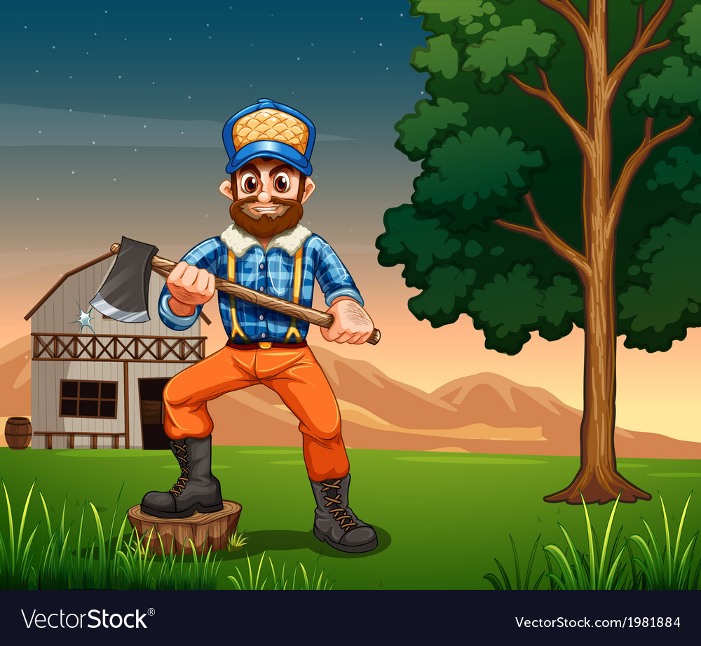 A lumberjack standing near the tree while holding vector   Price: 1 Credit (USD $1)