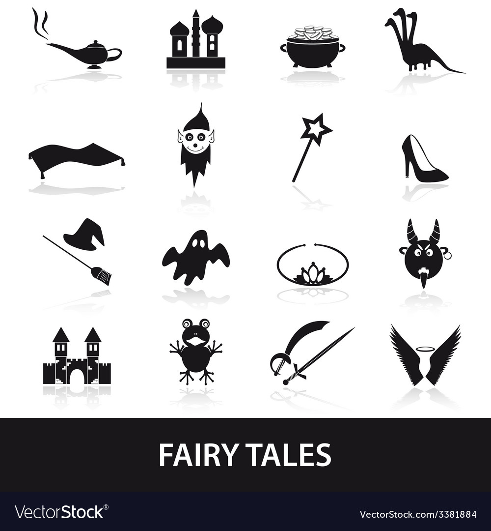 Black simple fairy tales theme icons set eps10 vector | Price: 1 Credit (USD $1)