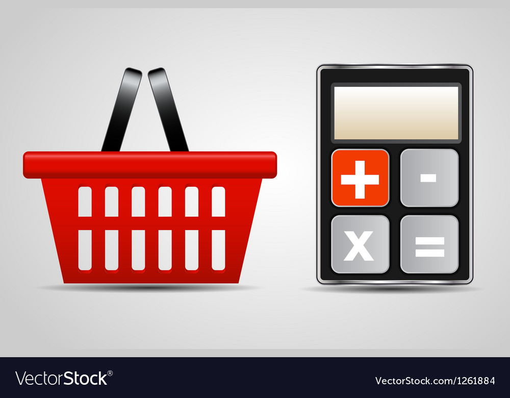 Calculator and shopping basket vector | Price: 3 Credit (USD $3)