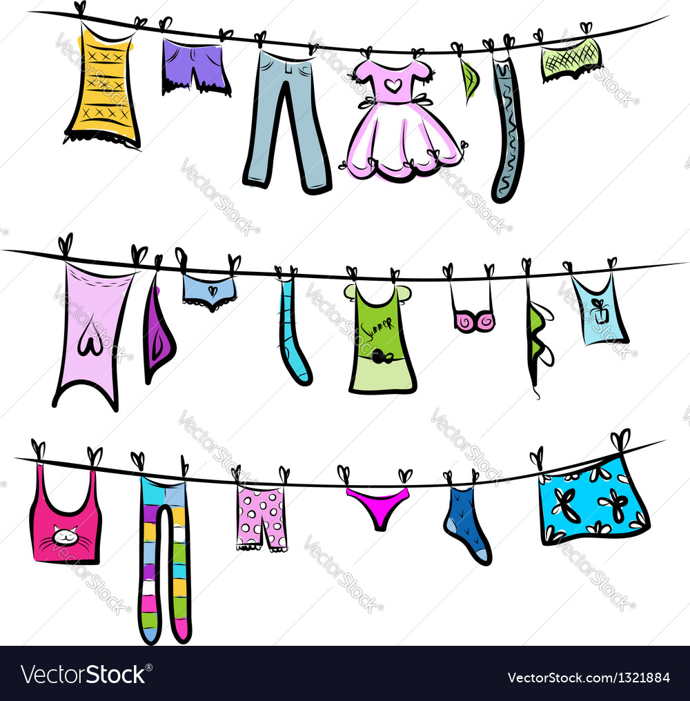 Clothes on the clothesline sketch for your design vector | Price: 1 Credit (USD $1)