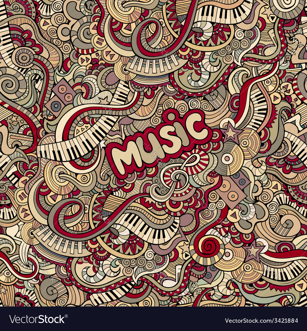Doodles music seamless pattern vector | Price: 1 Credit (USD $1)