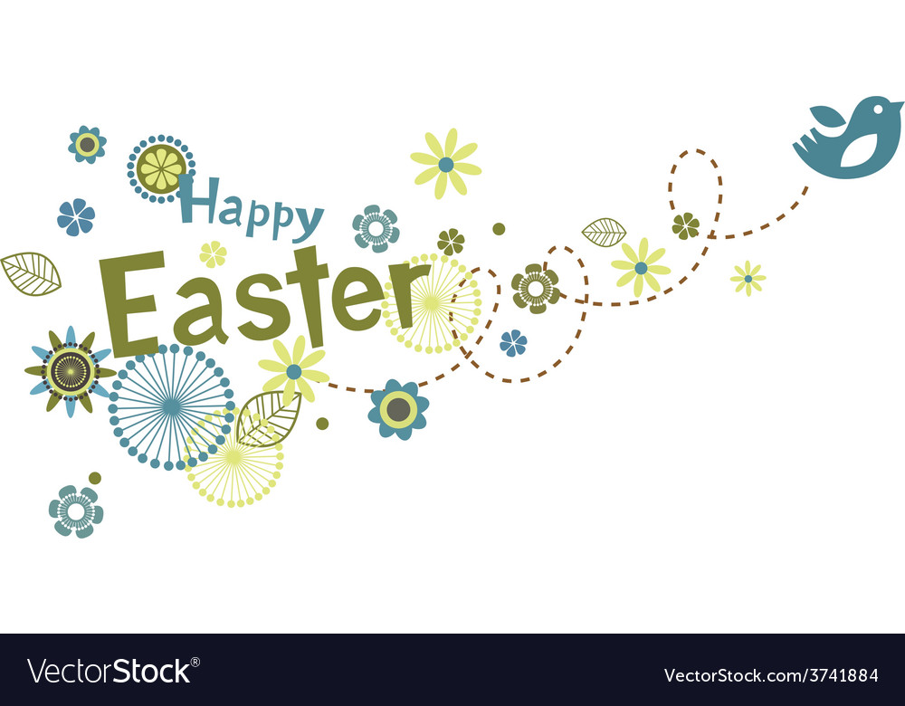 Easter greeting card with cute little bird vector | Price: 1 Credit (USD $1)