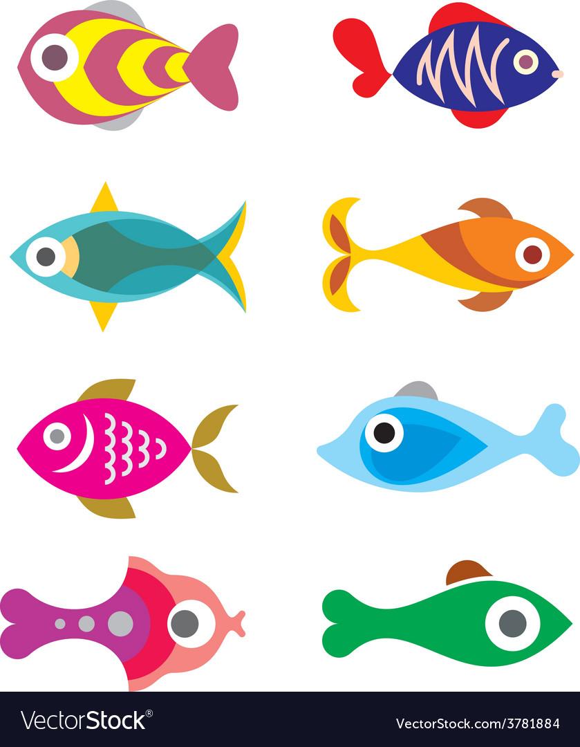 Fish icon set 8 vector | Price: 1 Credit (USD $1)