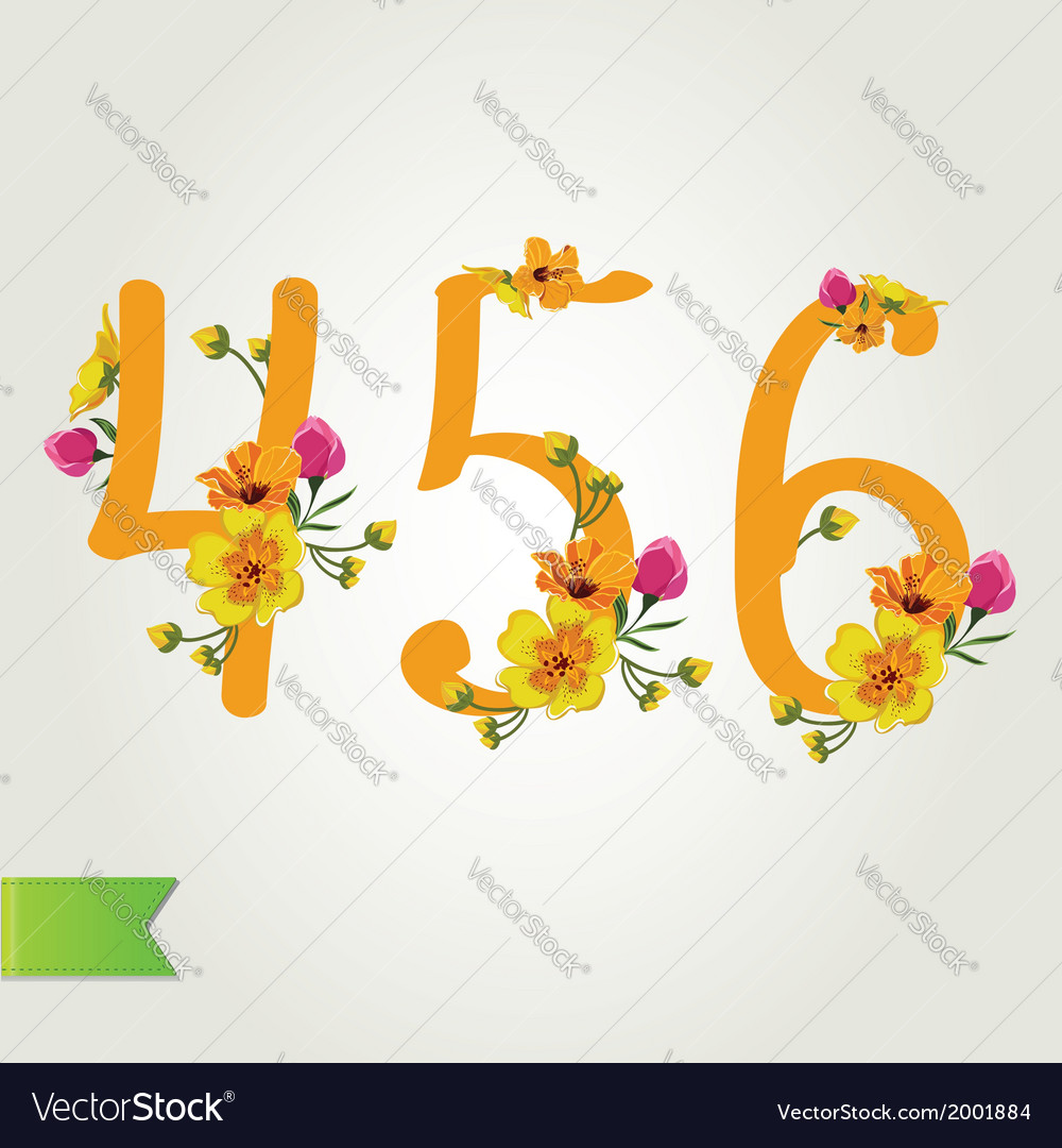 Floral numbers set vector   Price: 1 Credit (USD $1)