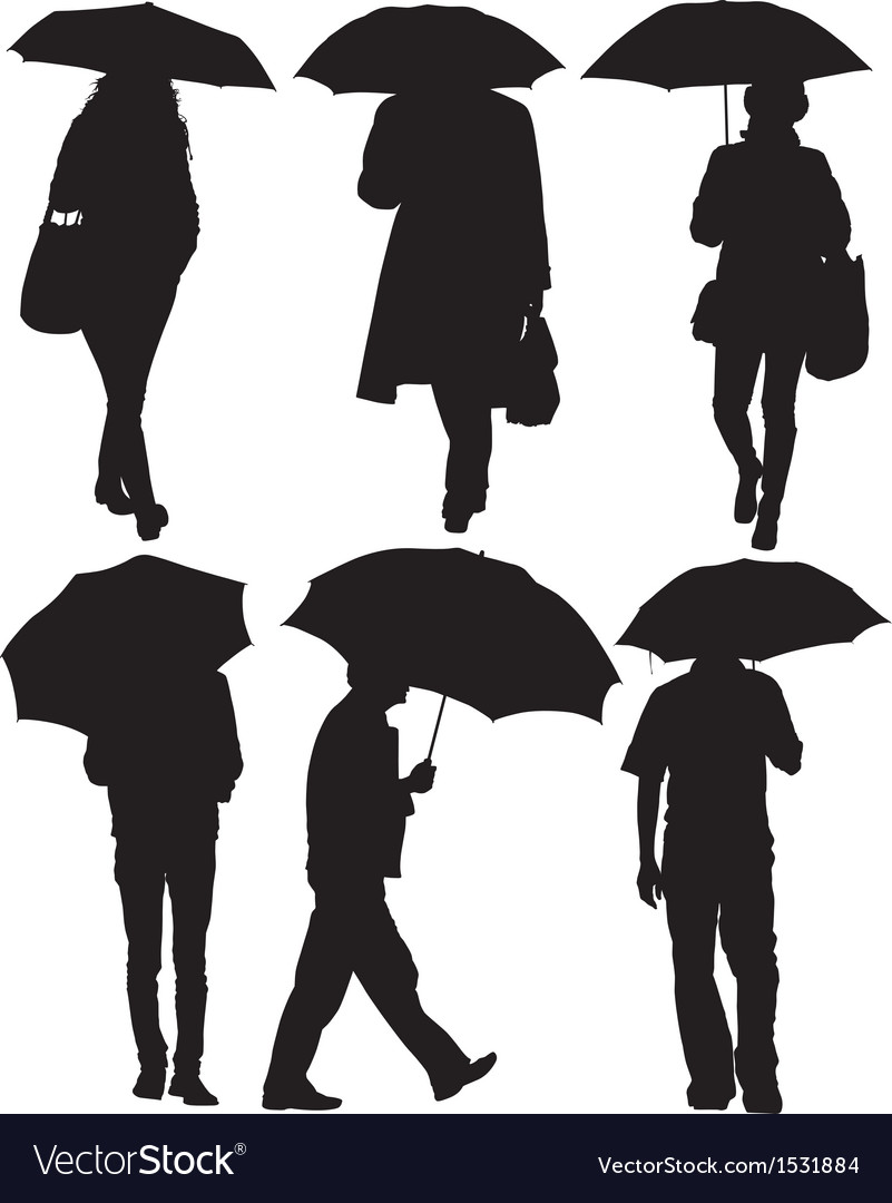 Man and woman with an umbrella silhouette vector | Price: 1 Credit (USD $1)