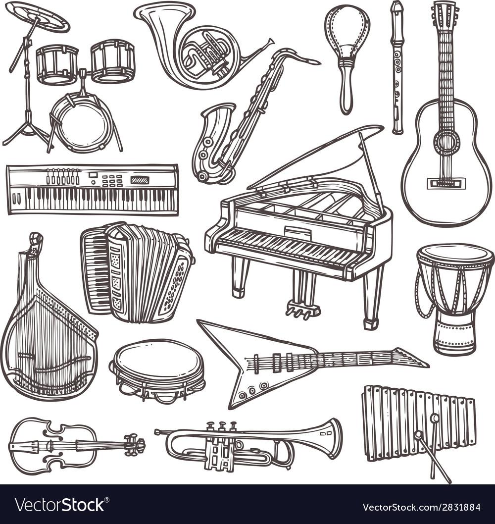 Musical instruments sketch icon vector | Price: 1 Credit (USD $1)