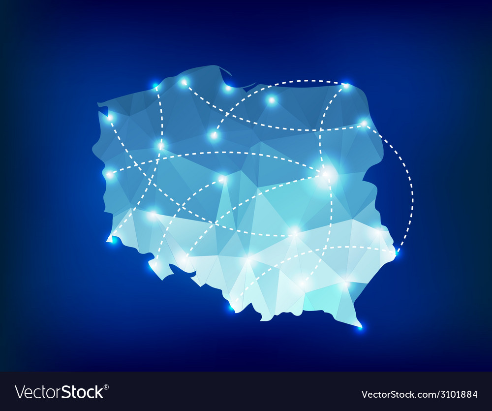 Poland country map polygonal with spot lights plac vector | Price: 1 Credit (USD $1)