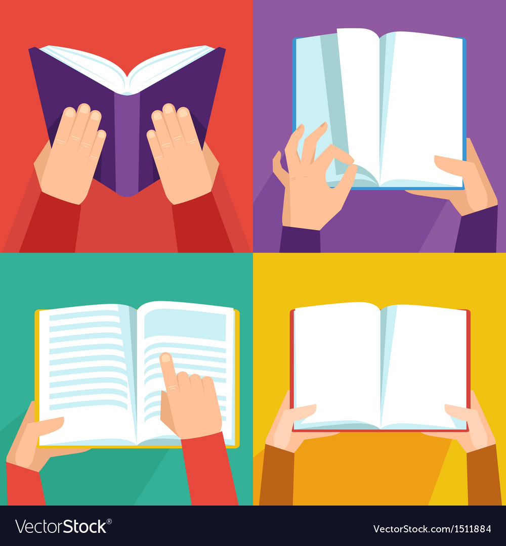 Set of hand holding books vector | Price: 1 Credit (USD $1)